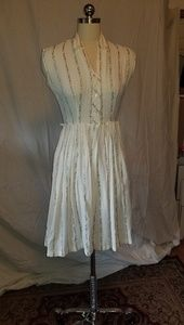 Summery cotton weave stripe vintage dress